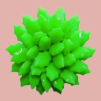Awesome NEON GREEN Plastic Vintage Brooch - Flower Power