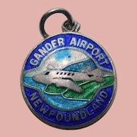 Sterling & Enamel GANDER AIRPORT Charm - Travel Souvenir - Newfoundland Canada