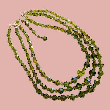 Fabulous Green Aurora Crystal 3 Strand Necklace - Olivine or Peridot Color