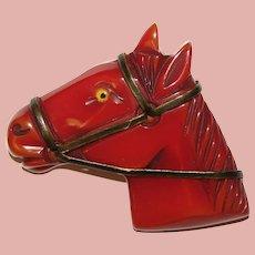 Fabulous Carved Bakelite Horse Head Vintage Brooch