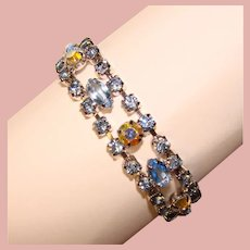 Gorgeous Vintage BLUE RHINESTONE Bracelet