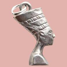 Sterling NEFERTITI Vintage Estate Charm - Egyptian Queen