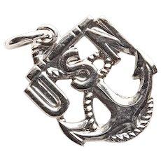 Sterling Navy Sweetheart Vintage Charm - USN