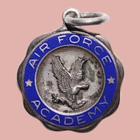 Sterling AIR FORCE ACADEMY Enamel Sweetheart Vintage Charm