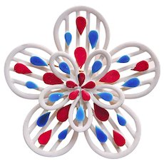 Awesome RED WHITE & BLUE Enameled Brooch - Patriotic Flower Power
