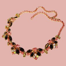 Gorgeous PINK BLACK & GREEN Vintage Rhinestone Necklace