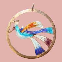 Fabulous STERLING Enamel Bird Design Vintage Pendant