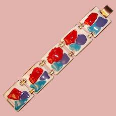 Fabulous KAY DENNING Vibrant Color Enamel Panel Bracelet