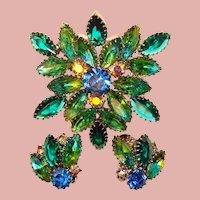 Fabulous Vintage BLUE & GREEN GIVRE GLASS Aurora Rhinestone Brooch Set