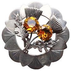 Fabulous Sterling SCOTTISH THISTLE Vintage Brooch - Ward Bros WBs - Amber Glass Stones - Edinburgh Scotland