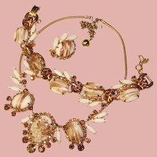 Fabulous D&E JULIANA Gold Fluss Glass Rhinestone Set