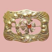 Fabulous Antique King & Fleur De Lis Sash Pin Brooch - Figural Design - Amber Glass Stone