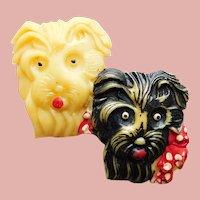 Gorgeous Celluloid Scotty Dog Faces Vintage Brooch - Scottie Terrier