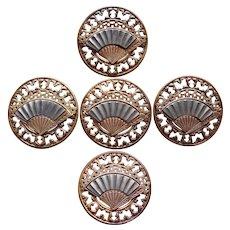 Fabulous VICTORIAN Cut Steel Fan Large Buttons - Set of 5 Matching - Antique Figural Design