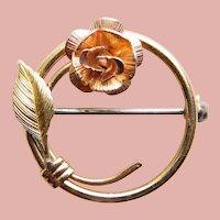 "Tiny KREMENTZ Rose Circle Mini Brooch - 11/16"" For Doll or Lapel"