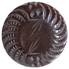 Gorgeous CARVED BAKELITE Large Vintage Button - Dark Chocolate Brown