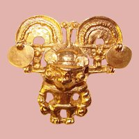 Awesome Pre Columbian Design Vintage Brooch