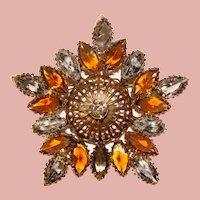 Fabulous Amber Givre & Smoke Vintage Rhinestone Brooch - Open Backed Stones