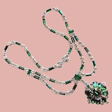 Fabulous ASTRA Vintage Green & Clear Rhinestone Necklace