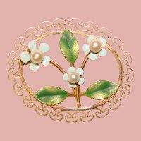 Gorgeous KREMENTZ Enamel & Cultured Pearl Forget Me Not Vintage Brooch