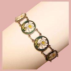 Gorgeous ENAMEL Rose Flower Panel Vintage Bracelet