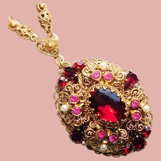 Fabulous West Germany Red Glass & Rhinestone Vintage Necklace