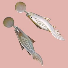 Gorgeous FISH Carved Mother of Pearl Vintage Dangle Earrings