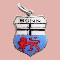 800 Silver & Enamel BONN Enamel Charm - Birthplace of Beethoven - Travel Shield - Souvenir of Germany