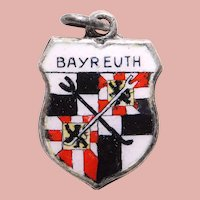800 Silver & Enamel BAYREUTH Charm - Travel Shield - Souvenir of Germany