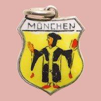 800 Silver & Enamel MUNICH Munchen Charm - Travel Shield - Souvenir of Germany