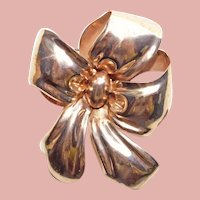 Fabulous 1940s MONET STERLING Pink Gold Finish Puffy Bow Brooch - Large Size