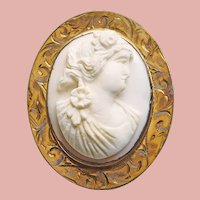 Fabulous Victorian Carved Cameo Gold Filled Engraved Setting Brooch