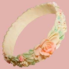 Gorgeous CELLULOID Flowers Vintage Bangle Bracelet - Pastel Tinted Colors