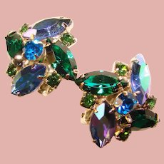 Fabulous Peacock Aurora & Green Rhinestone Vintage Clip Earrings