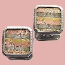 Art Deco KUM-A-PART Baer & Wilde Tricolor Snap Cufflinks