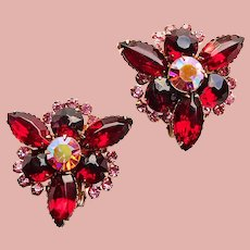 Fabulous Red Pink & Pink Aurora Rhinestone Vintage Earrings