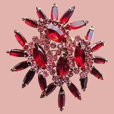 Fabulous RED & PINK Skinny Navette Rhinestone Vintage Brooch