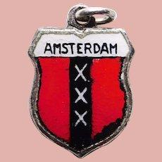 800 Silver & Enamel AMSTERDAM Vintage Charm - Travel Shield Souvenir of Netherlands Holland