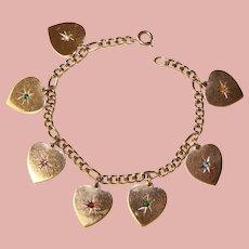 Fabulous Sterling Hearts DEAREST Stones Bracelet
