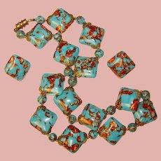 Fabulous VENETIAN GLASS Murano Italian Beads Vintage Necklace Set – Aqua & Gold