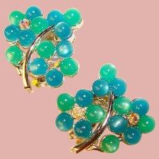Gorgeous Rhinestone & Moonglow Lucite Vintage Clip Earrings