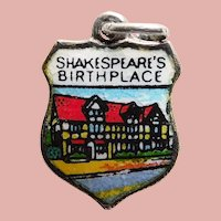 800 Silver & Enamel SHAKESPEARE BIRTHPLACE Vintage Charm - Souvenir of Stratford on Avon England United Kingdom - Travel Shield