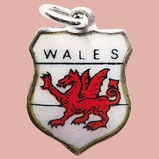 800 Silver & Enamel WALES Vintage Charm - Souvenir of United Kingdom - Travel Shield