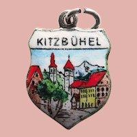 800 Silver & Enamel KITZBUHEL Vintage Charm - Souvenir of Austria - Travel Shield
