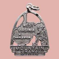 Sterling WEST VIRGINIA Vintage Charm - State Souvenir