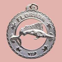 Sterling FLORIDA Fish Vintage Charm - State Souvenir - Swordfish Sailfish