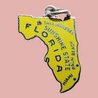 Sterling & Enamel FLORIDA Vintage Charm - Sunshine State Souvenir