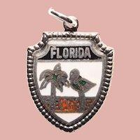 Sterling & Enamel FLORIDA Vintage Charm - State Souvenir - Travel Shield