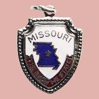Sterling & Enamel MISSOURI Vintage Charm - State Souvenir - Travel Shield