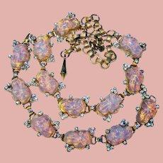 Fabulous OPAL GLASS Unique Stones Vintage Necklace Set